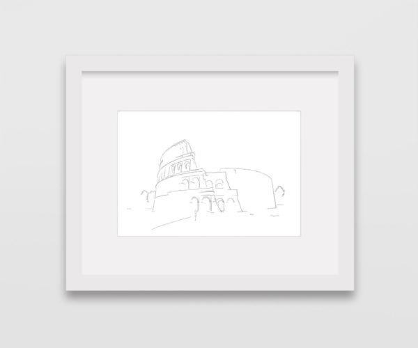 tekening-colosseum-rome-witte-lijst