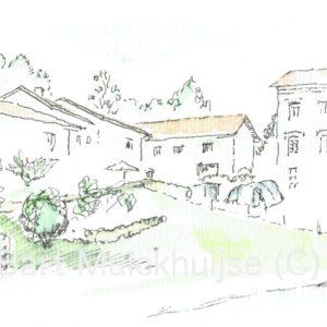 pentekening-aquarel-hameau-le-phaux