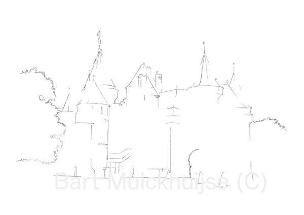 tekening-kasteel-de-haar-zuylen-utrecht