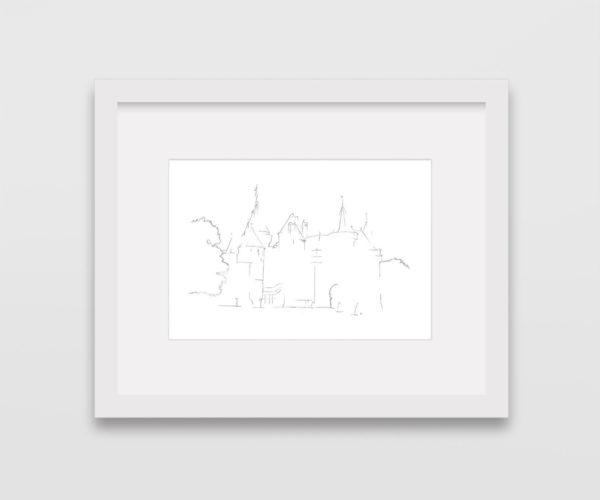 tekening-kasteel-de-haar-zuylen-utrecht-lijst