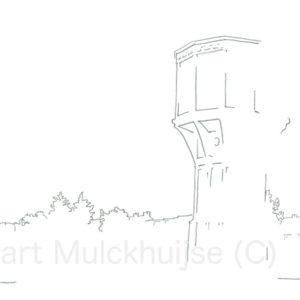 Tekening van de Leidse Watertoren
