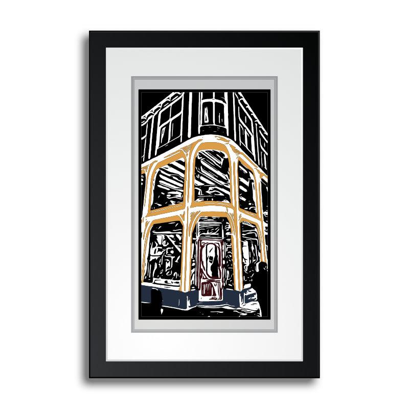 winkel-nieuwe-rijn-digital-woodcut-linocut--hiver-a-leiden-holland
